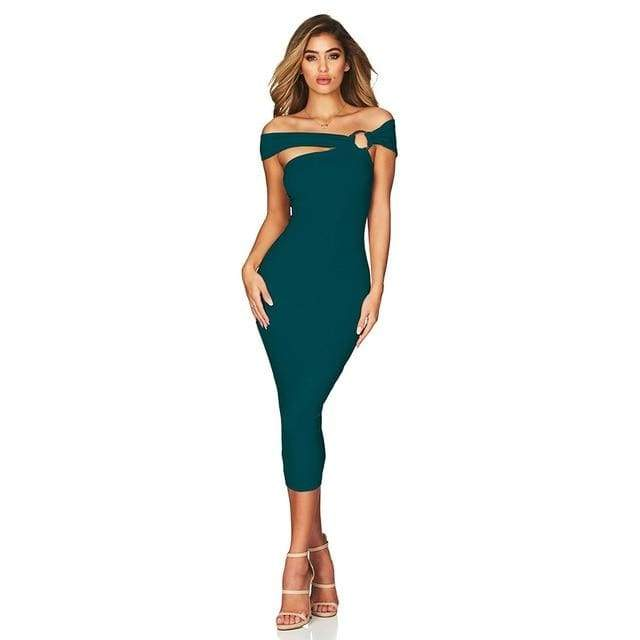Off Shoulder Hollow Out Bandage Dress - Green / XS