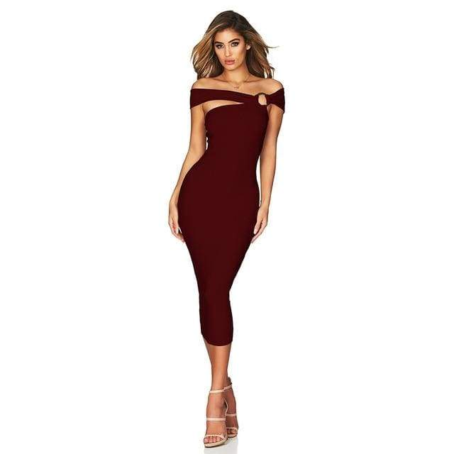 Off Shoulder Hollow Out Bandage Dress - Wine Red / XS