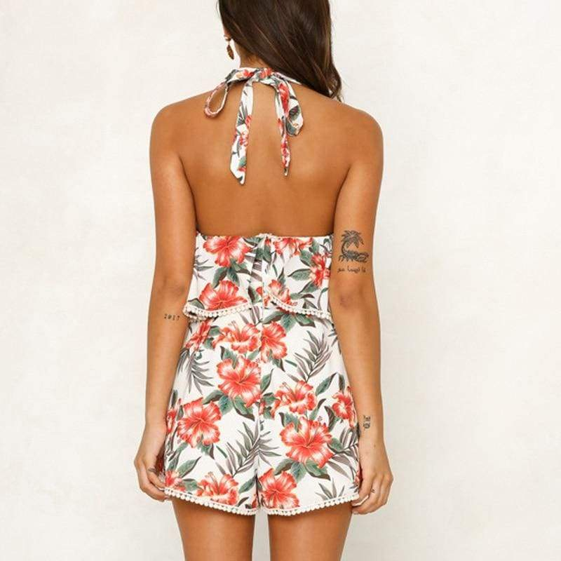 Off Shoulder Print Boho Romper