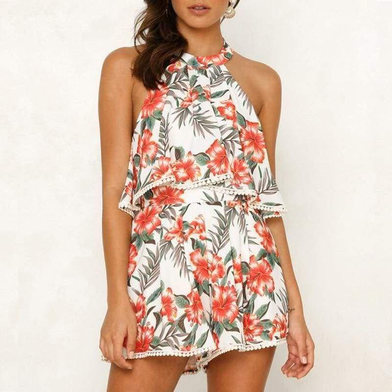 Off Shoulder Print Boho Romper - Red / S