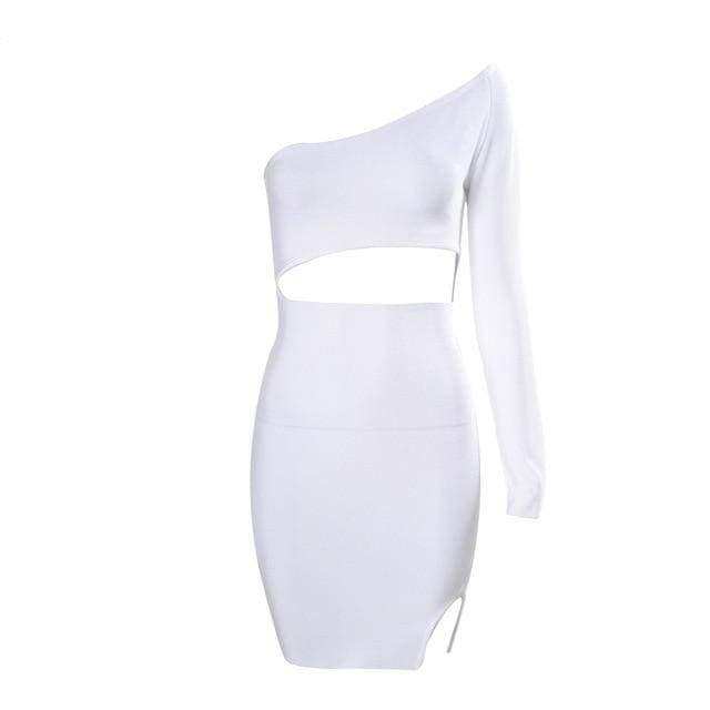One Shoulder Bandage Hollow Out Bodycon Dress