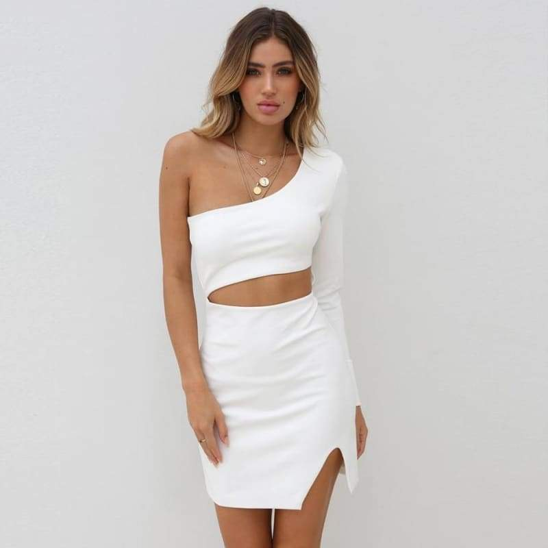One Shoulder Bandage Hollow Out Bodycon Dress - White / XS