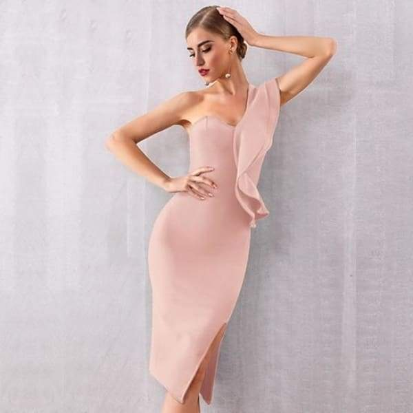 One Shoulder Ruffle Bodycon Dress - Apricot / XS