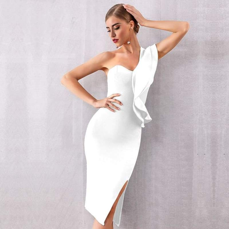 One Shoulder Ruffle Bodycon Dress