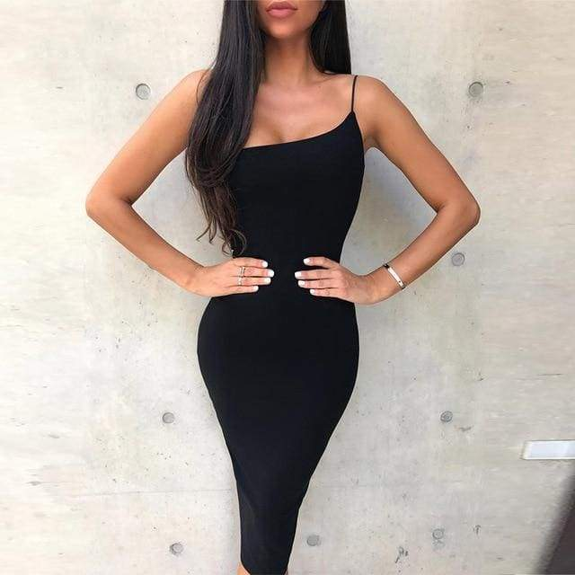 One Shoulder Spaghetti Strap Bandage Dress - Black / XS