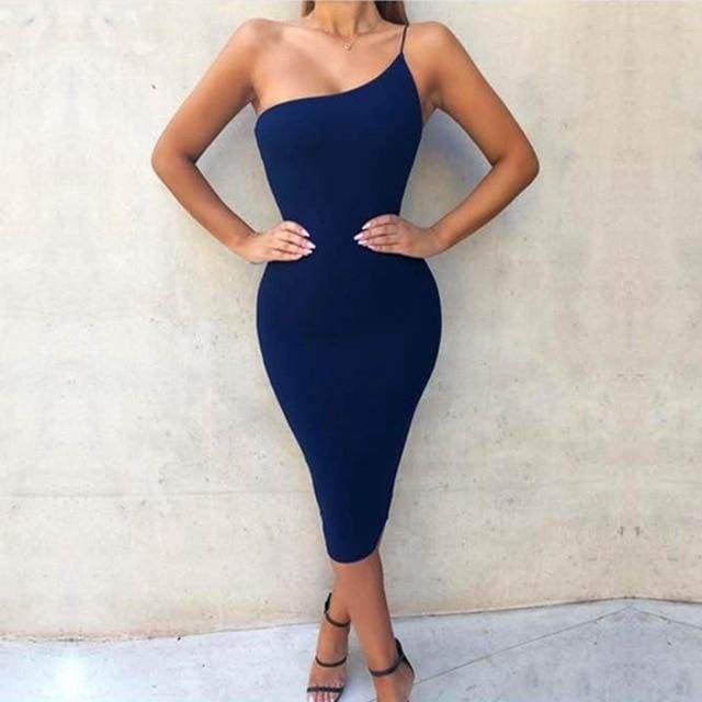 One Shoulder Spaghetti Strap Bandage Dress - Blue / XS