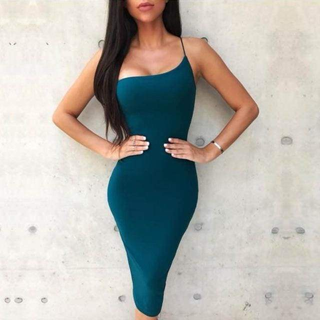 One Shoulder Spaghetti Strap Bandage Dress - Deep Green / XS