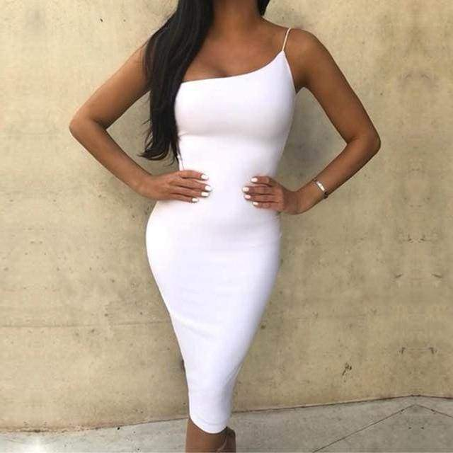 One Shoulder Spaghetti Strap Bandage Dress - White / XS