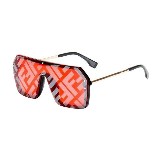 Oversize One Piece Square Sunglasses - Black Red