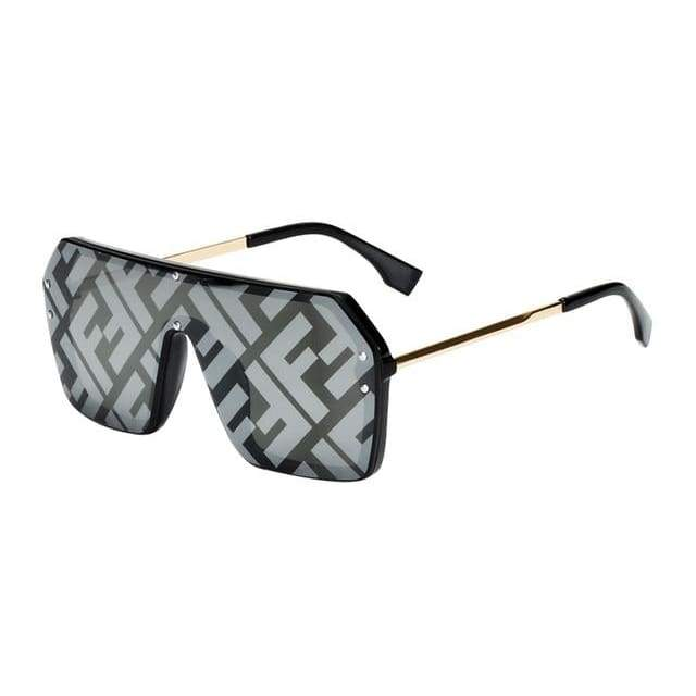 Oversize One Piece Square Sunglasses - Black Silver Mirror