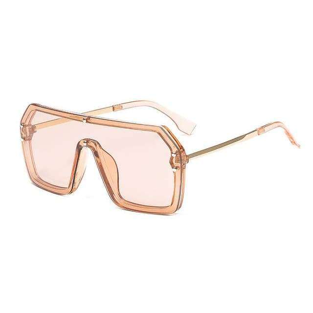 Oversize One Piece Square Sunglasses - Champagne Champagne