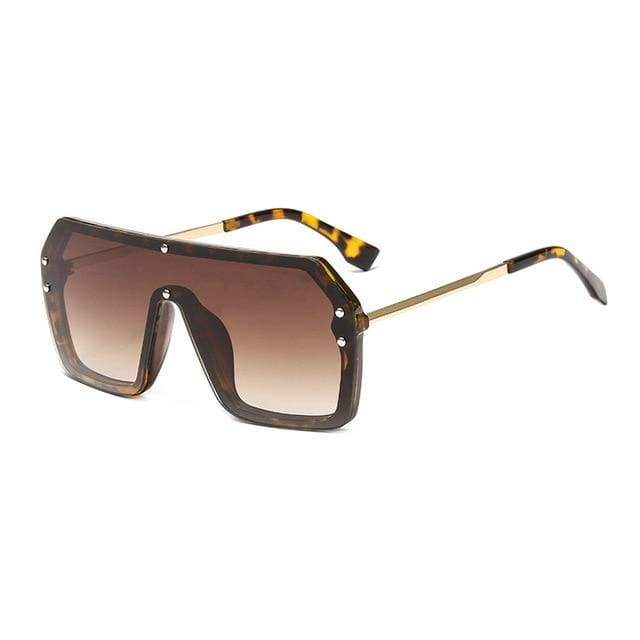 Oversize One Piece Square Sunglasses - Leopard Tea Gradient