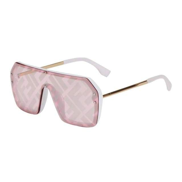 Oversize One Piece Square Sunglasses - White Pink