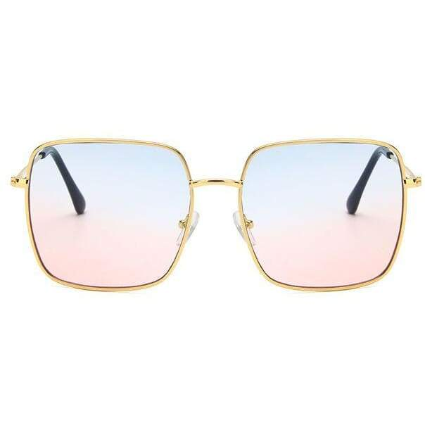 Oversized Square Sunglasses - gold blue pink