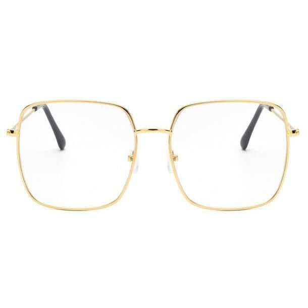 Oversized Square Sunglasses - Gold clear