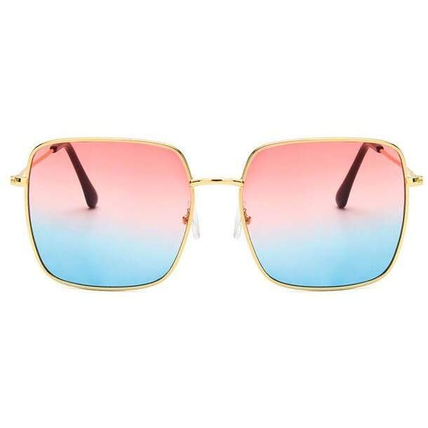 Oversized Square Sunglasses - Gold red blue