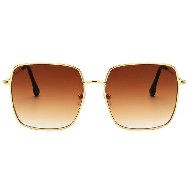 Oversized Square Sunglasses - Gold tea