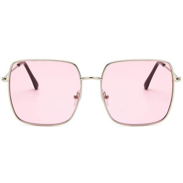 Oversized Square Sunglasses - Silver pink
