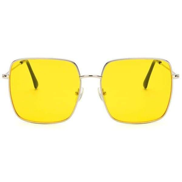Oversized Square Sunglasses - silver yellow