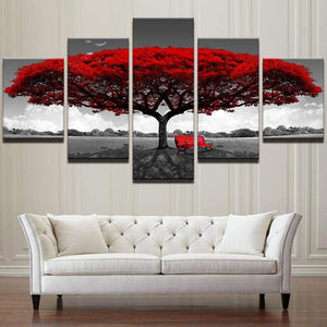 Red Tree Landscape Modular Canvas HD Print 5PCS/Set