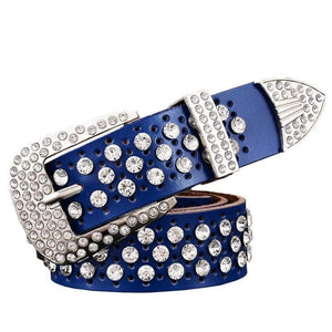 Rhinestone Leather Belt - Blue / 95cm
