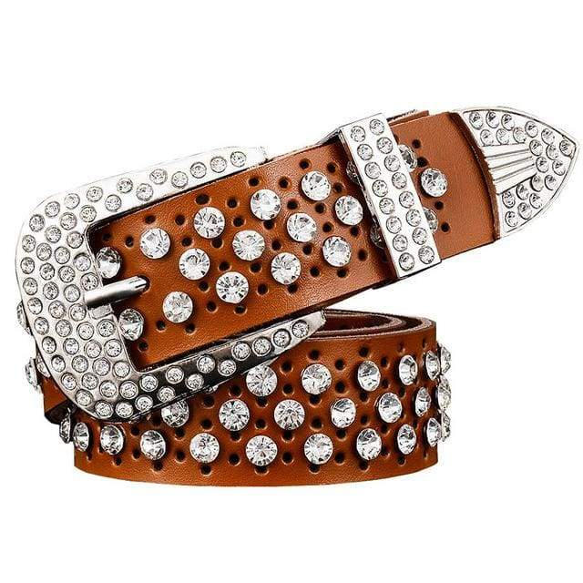 Rhinestone Leather Belt - Brown / 95cm