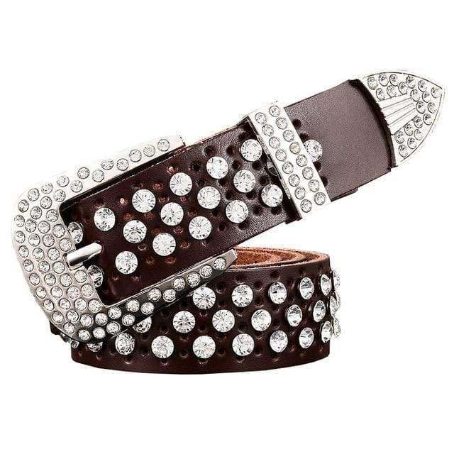 Rhinestone Leather Belt - Coffee / 95cm