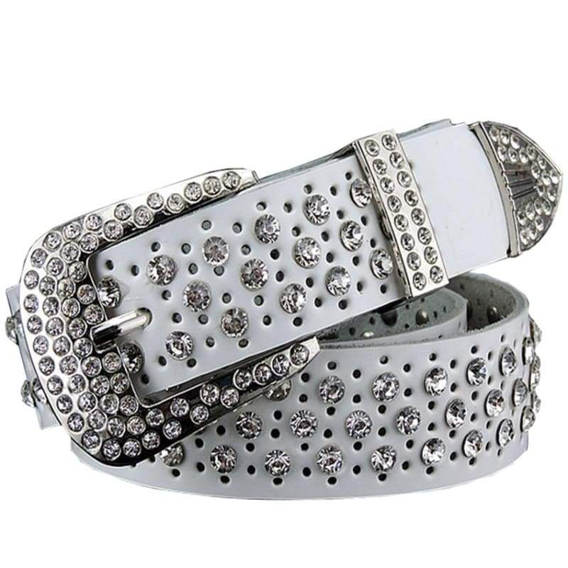 Rhinestone Leather Belt