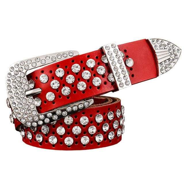 Rhinestone Leather Belt - Red / 95cm