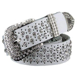 Rhinestone Leather Belt - White / 95cm