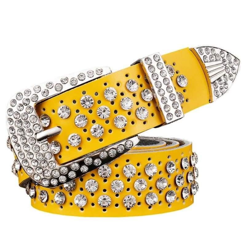 Rhinestone Leather Belt - Yellow / 95cm