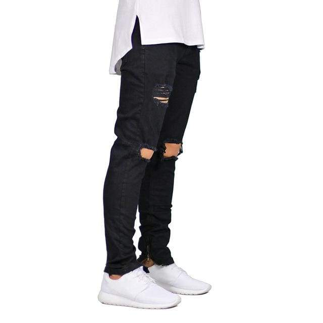 Ripped and Destroyed Stretch Ankle Zipper Skinny Jeans - Black / 29