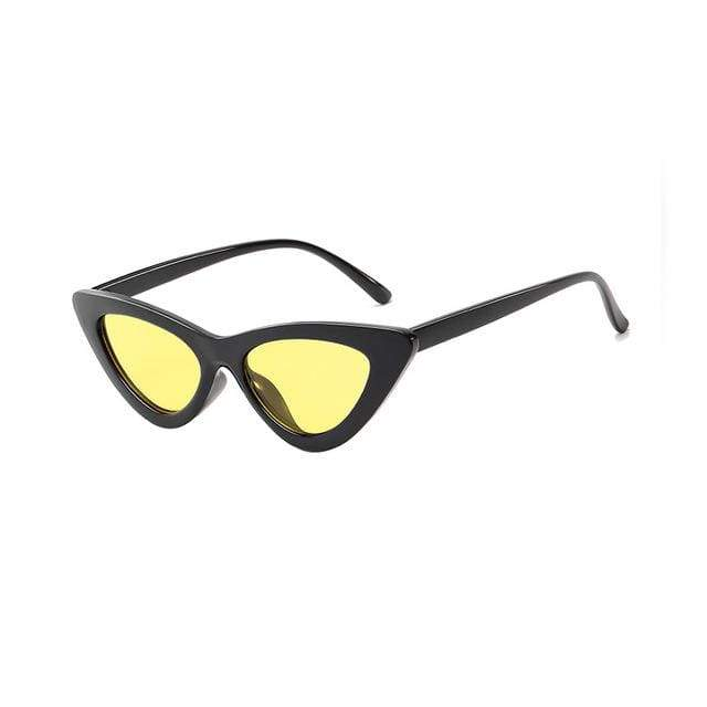 Sexy Cat Eye Sunglasses - Black Clear yellow