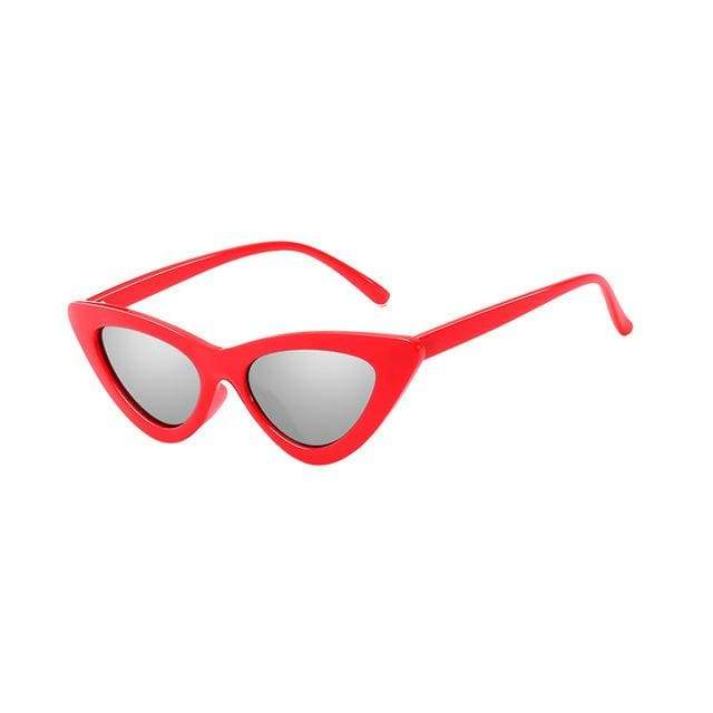 Sexy Cat Eye Sunglasses - C04 Red Silver