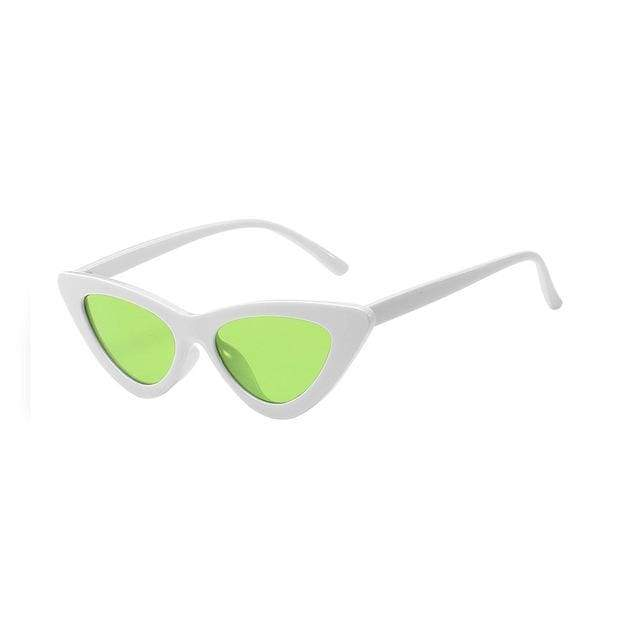 Sexy Cat Eye Sunglasses - White Clear Green