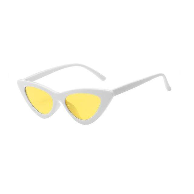 Sexy Cat Eye Sunglasses - White Clear yellow