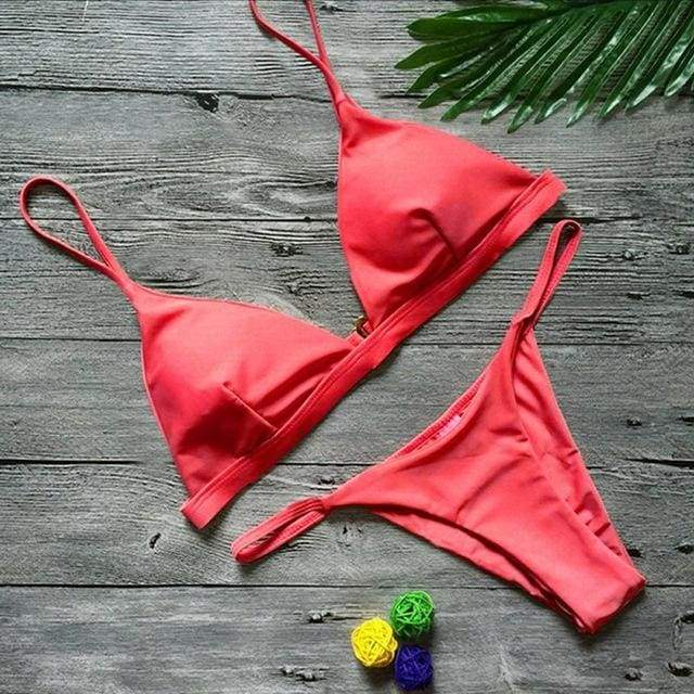 Sexy Solid Top Thong Micro Brazilian Bikini - Red / S