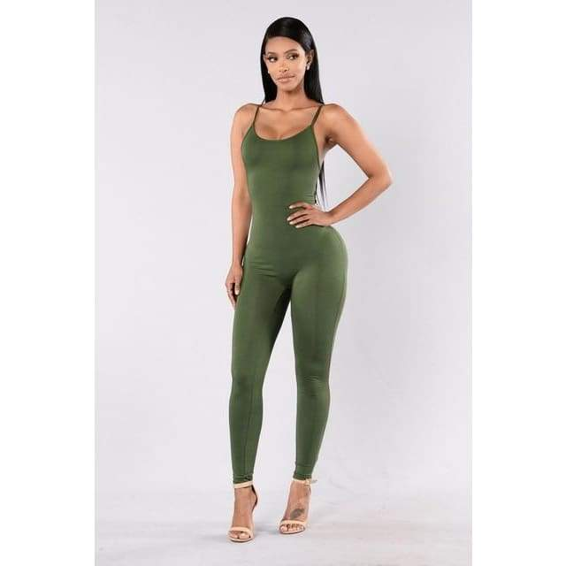 Sexy Spaghetti Strap Jumpsuits - 2011 Army green / S
