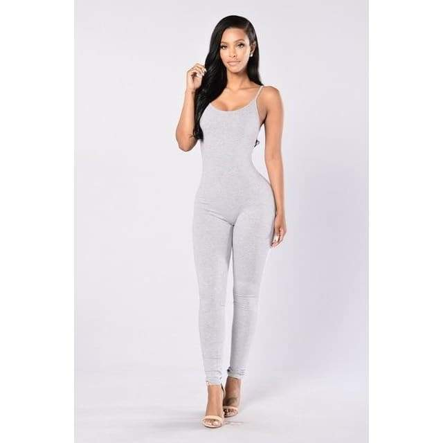 Sexy Spaghetti Strap Jumpsuits - 2011 light gray / S
