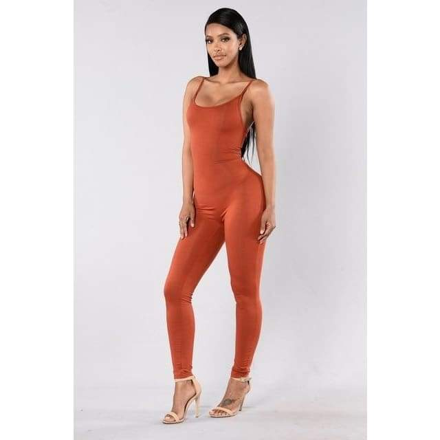 Sexy Spaghetti Strap Jumpsuits - 2011 orange / S