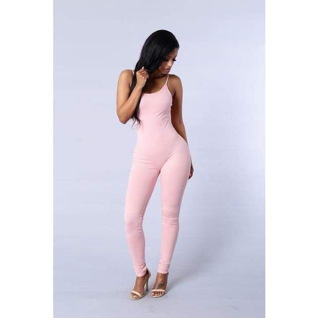 Sexy Spaghetti Strap Jumpsuits - 2011 Pink / S