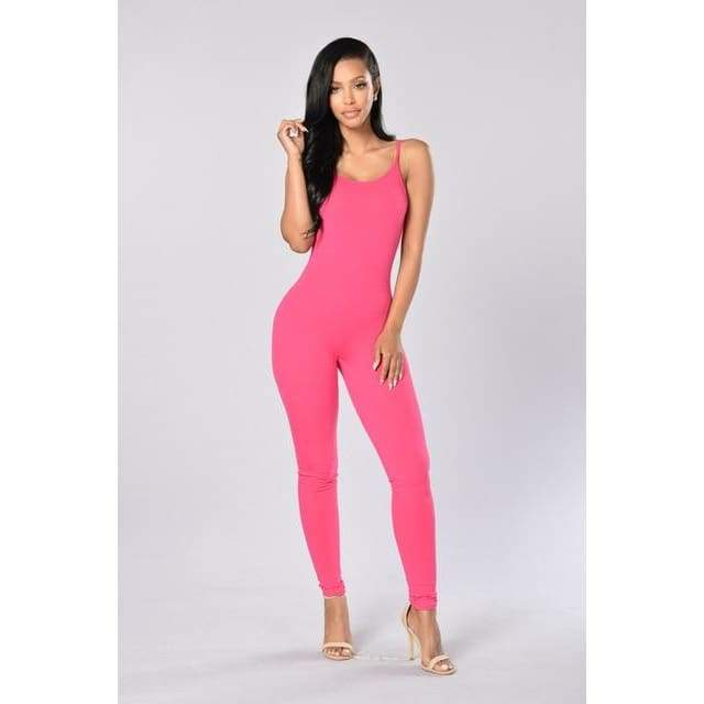 Sexy Spaghetti Strap Jumpsuits - 2011 Rose red / S