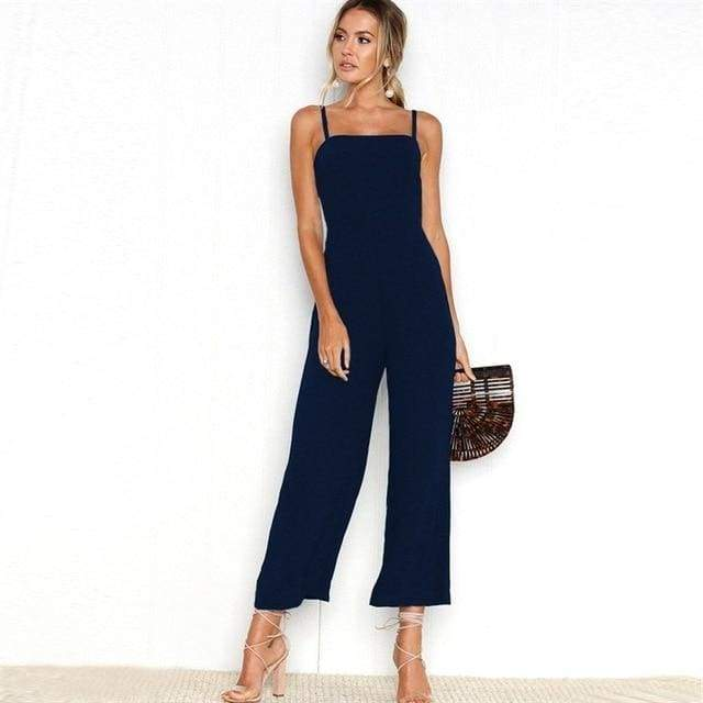 Sexy Spaghetti Strap Wide Leg Backless Jumpsuit - 0720 Dark blue / S