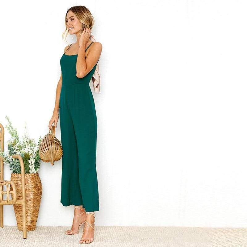 Sexy Spaghetti Strap Wide Leg Backless Jumpsuit