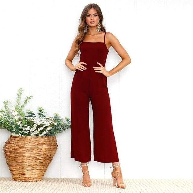 Sexy Spaghetti Strap Wide Leg Backless Jumpsuit - 0720 Wine red / S