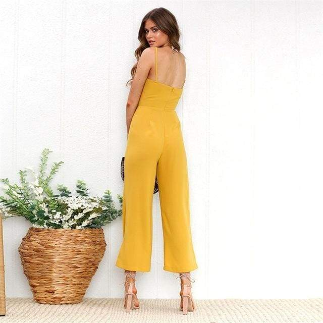 Sexy Spaghetti Strap Wide Leg Backless Jumpsuit - 0720 Yellow / S
