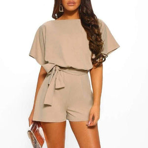 Short Sleeve O Neck Jumpsuit - Khaki / S