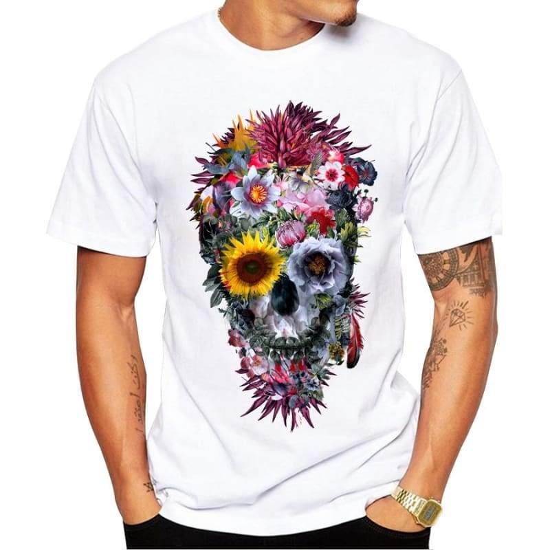 Skull Printed Short Sleeve T-Shirt - XS