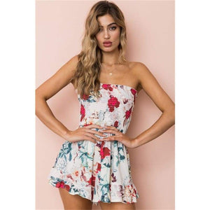 Slash Neck Off Shoulder Print Floral Romper