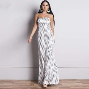 Sleeveless Backless Polka Dot Tie Jumpsuit